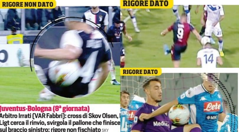 Serie A, falli di mano: tre casi e due misure