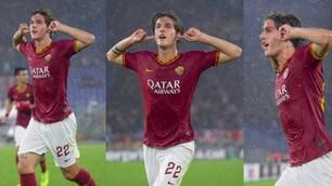 Roma, gol ed esultanza particolare di Zaniolo contro il Moenchengladbach