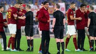 Roma, proteste a fine partita: Fonseca e Dzeko a colloquio con l'arbitro