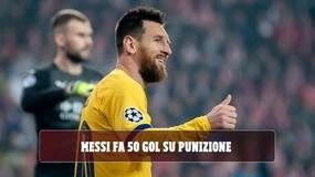 Messi segna il 50° gol su punizione