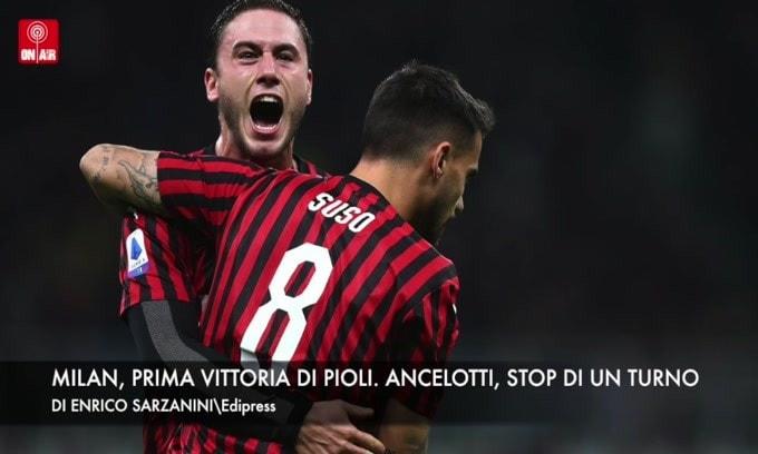 Milan, prima vittoria di Pioli. Ancelotti, un turno di stop