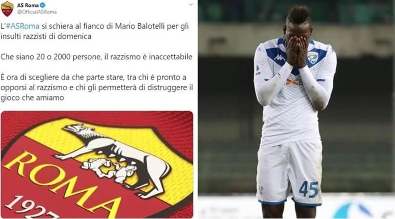 """Caso Balotelli, la Roma sta con Mario: """"Il razzismo è inaccettabile"""""""