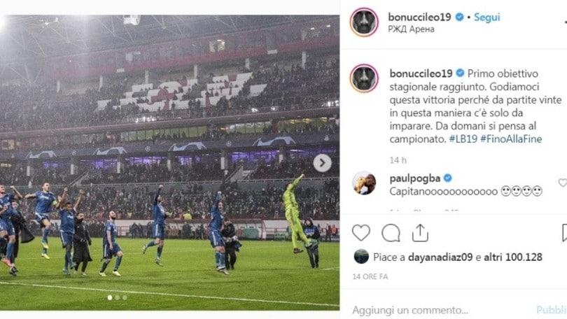 """Pogba saluta Bonucci su Instagram e i tifosi si scatenano: """"Torna alla Juve"""""""