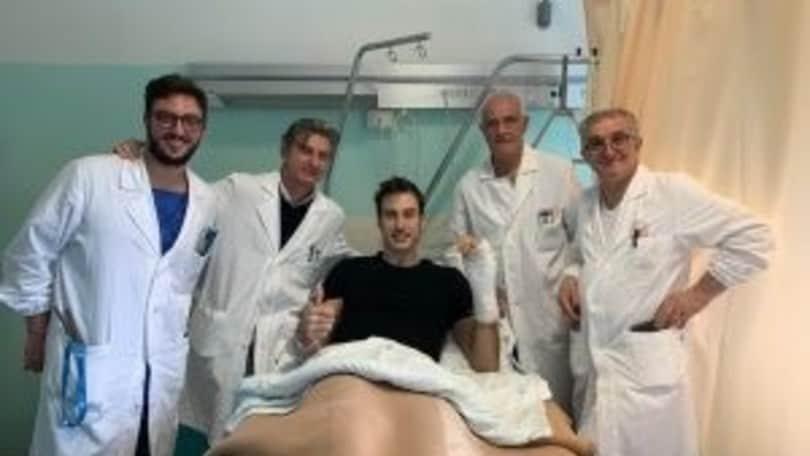 Riuscito l'intervento alla mano per Fabio Ricci