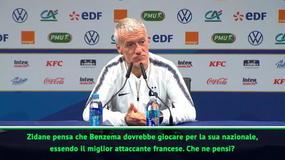 """Deschamps: """"Benzema? Zidane può dire quello che vuole"""""""
