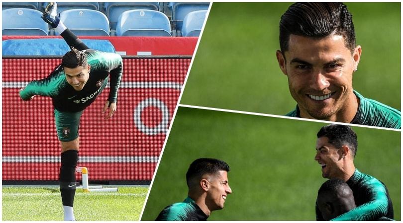 Tacchi, acrobazie, risate: Ronaldo ritrova il sorriso col Portogallo
