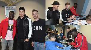 Lazio, Lazzari, Patric e Adekanye al nuovo store con i tifosi