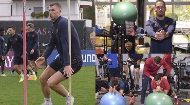 Roma, allenamento di fuoco tra slalom, elastici e palloni giganti!