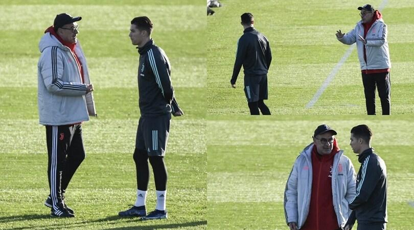 Sarri-Ronaldo, lungo faccia a faccia in campo