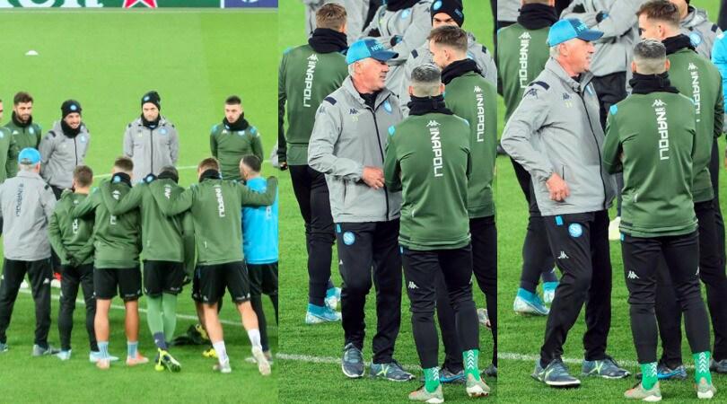 Napoli, discorso di Ancelotti ai giocatori in allenamento