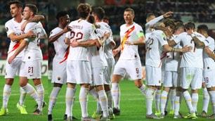 Roma, show sul campo del Basaksehir: tre gol e grandi abbracci