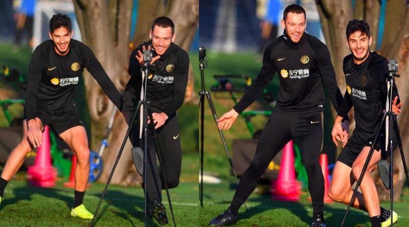 L'Inter si allena tra sorrisi e divertimento