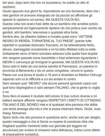 """Razzismo, Mbandà insultato in strada: """"Sono ferito ed amareggiato, ma sarò sempre italiano"""""""