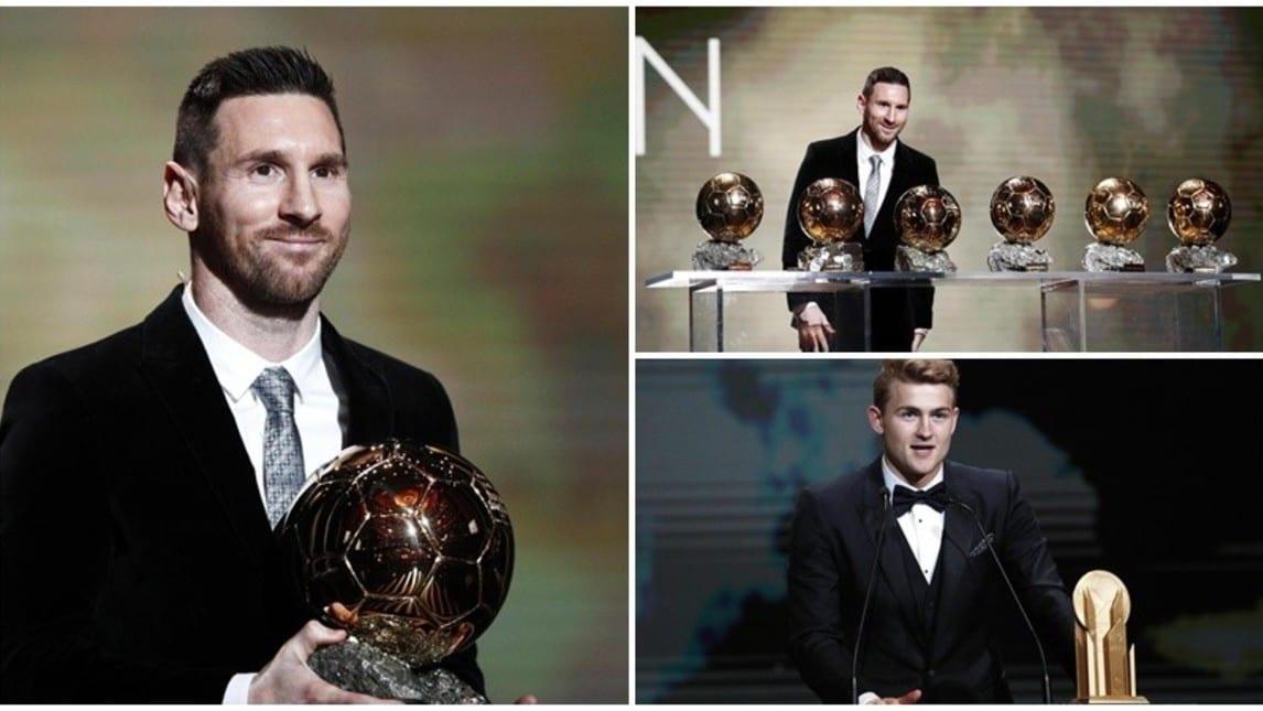 Tutte le immagini più belle della cerimonia organizzata da France Football. Cristiano Ronaldo, assente, arriva terzo. L'ex romanista Alisson vince il premio Yashin, l'olandese della Juve il Kopa. Presente anche Nedved