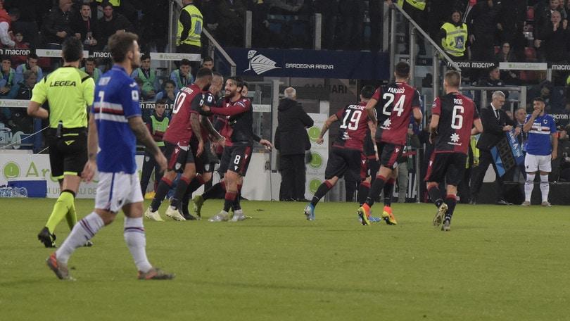 Cagliari-Sampdoria 4-3. Decide Cerri all'ultimo respiro
