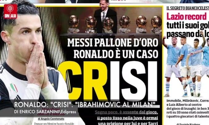 "Ronaldo: ""Crisi"". ""Ibrahimovic al Milan"""
