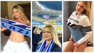 Anna Falchi tifosa sexy della Lazio