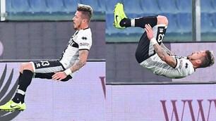 Sampdoria-Parma, Kucka segna ed esulta con la capriola