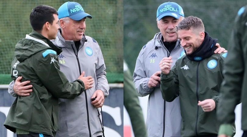 Napoli, abbracci e pacche sulle spalle: così Ancelotti carica i suoi