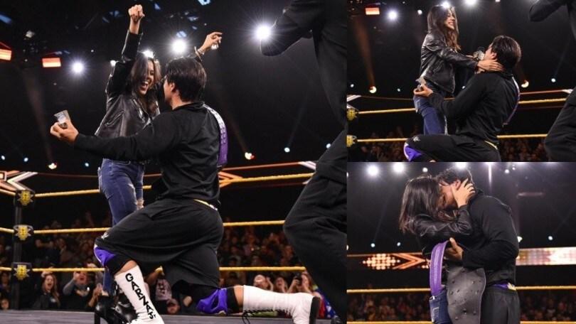 Wrestling WWE, vince il titolo e chiede alla compagna di sposarlo