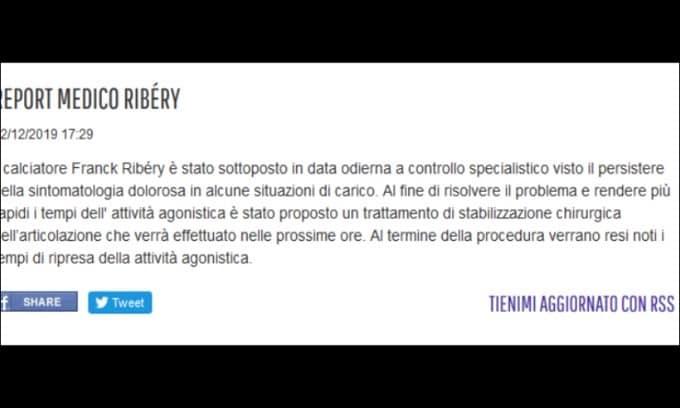 Fiorentina, Ribery subirà un intervento