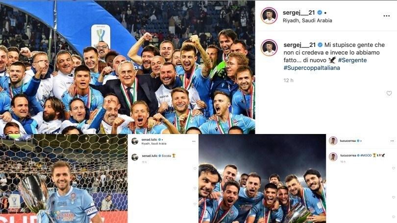"""Lazio, l'esultanza è anche social: """"La Supercoppa sotto l'albero di Natale"""""""