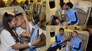 Lazio, festa in aereo con le wags