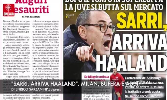 """Sarri, arriva Haaland"". Milan, bufera e addii"