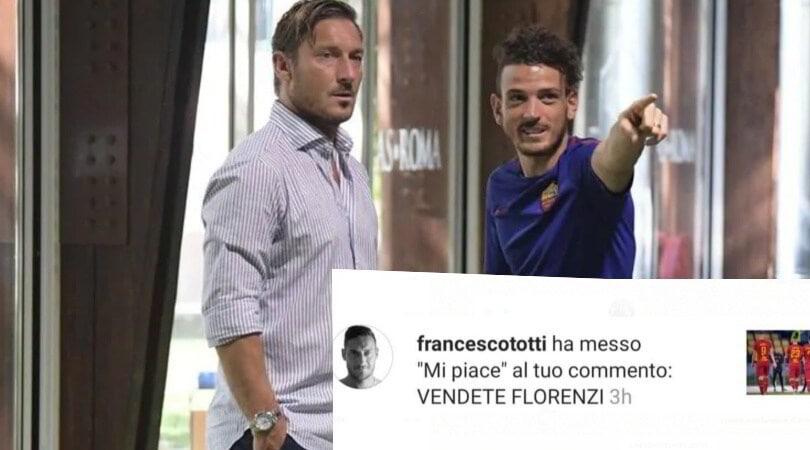 """Totti, frecciata a Florenzi. Un tifoso: """"Vendete il terzino"""", e lui mette like"""
