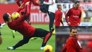 Milan, Ibrahimovic delizia il Meazza con le sue giocate nel riscaldamento