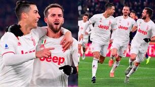 Roma-Juve, Ronaldo segna e abbraccia Pjanic