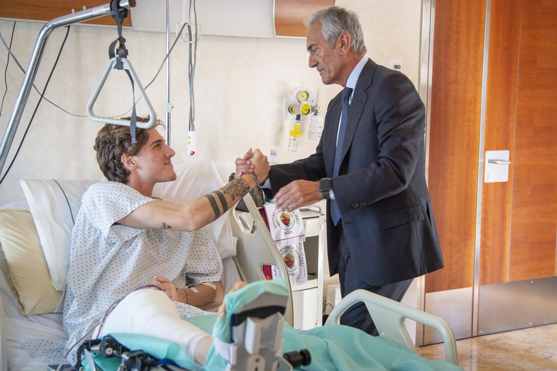 Roma, il presidente della Figc Gravina incontra Zaniolo
