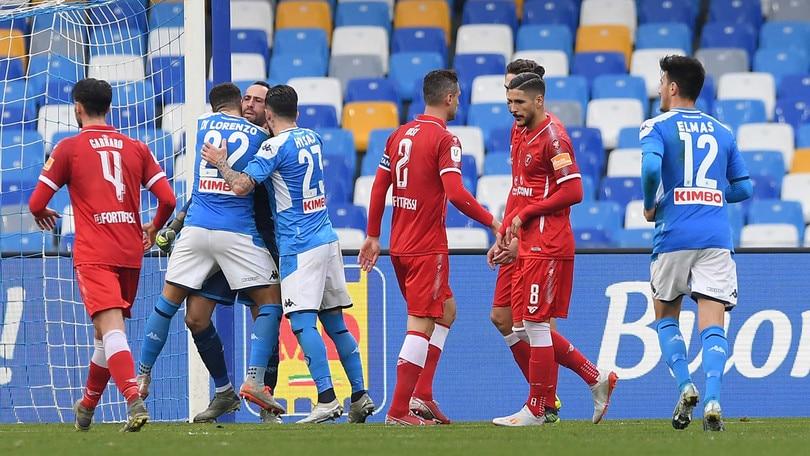 Coppa Italia Napoli-Perugia 2-0, il tabellino
