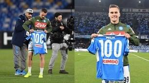 Milik fa 100 presenze col Napoli: premiato con una maglia celebrativa