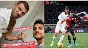 Roma, vittoria col Genoa: i giocatori festeggiano sui social