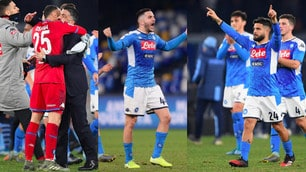Napoli, festa allo stadio San Paolo dopo la vittoria con la Lazio