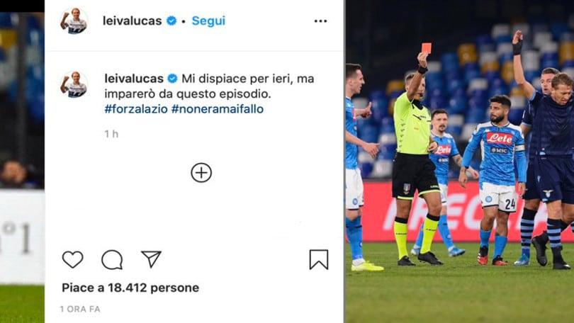 """Lazio, Leiva chiede scusa: """"Imparerò dall'errore di ieri"""""""