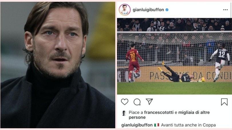 Totti ci ricasca: like a Buffon sulla vittoria della Juve contro la Roma