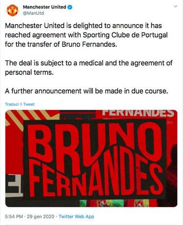 Bruno Fernandes, accordo ufficiale tra Manchester United e Sporting Lisbona