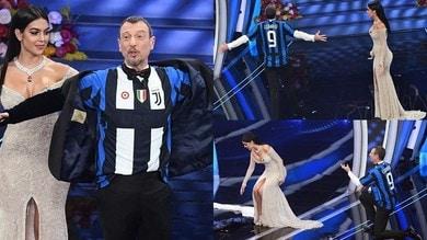 Sanremo, che siparietto Amadeus-Georgina: è Juve-Inter all'Ariston