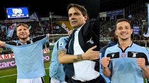 Lazio, festa finale a Parma: che esultanze con i tifosi