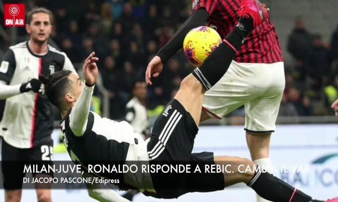 Milan-Juve, Ronaldo risponde a Rebic. Clamoroso, cambia il Var