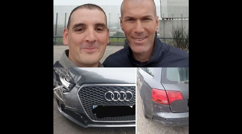 Incidente auto per Zidane: tamponamento con selfie