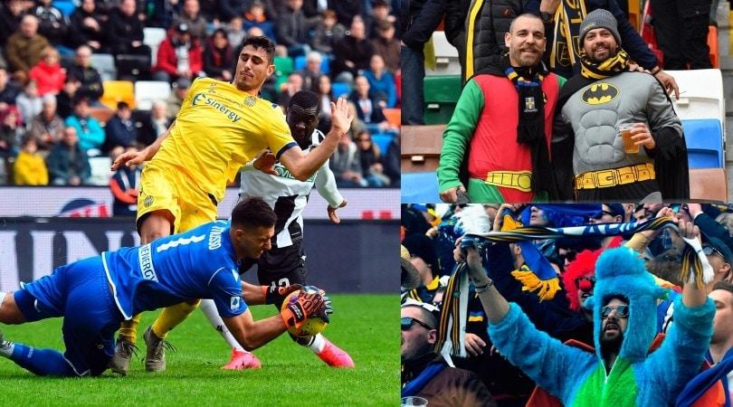 Musso salva l'Udinese: è 0-0 con il Verona. E sugli spalti è già Carnevale