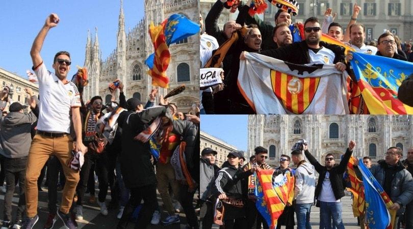 I tifosi del Valencia invadono Piazza Duomo: che festa prima dell'Atalanta!