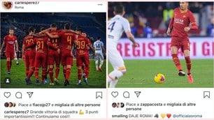 La Roma batte il Lecce: i giocatori festeggiano sui social