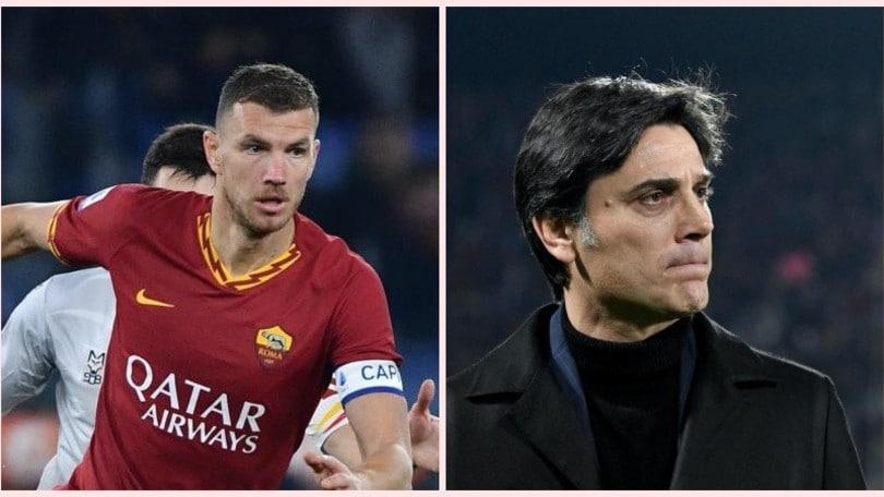 """Roma, Dzeko a quota 102. Montella lo esalta: """"Complimenti campione"""""""