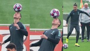 Juve, Ronaldo pronto per il Lione: che show in allenamento