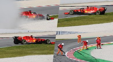 Ferrari, testacoda di Vettel durante i test di Barcellona