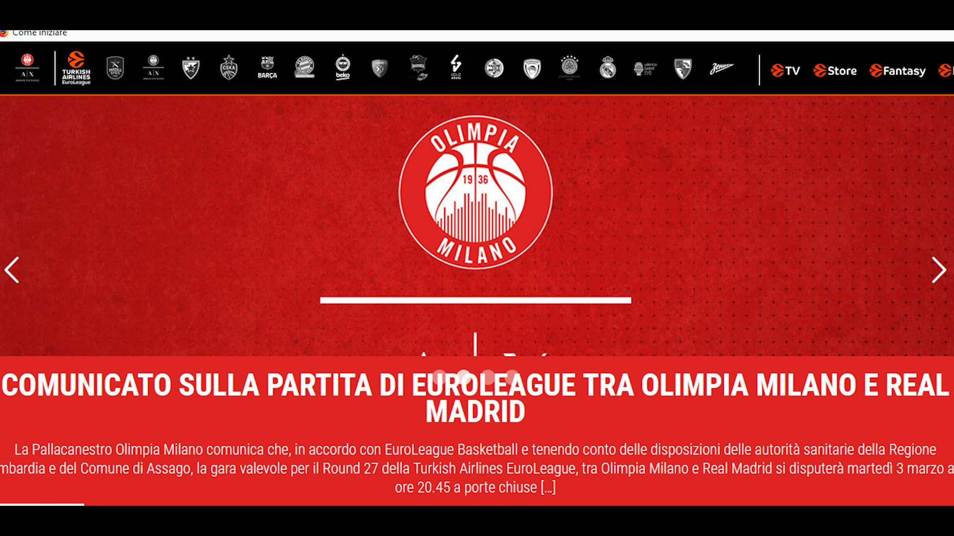 Basket, Olimpia Milano-Real Madrid si giocherà a porte chiuse